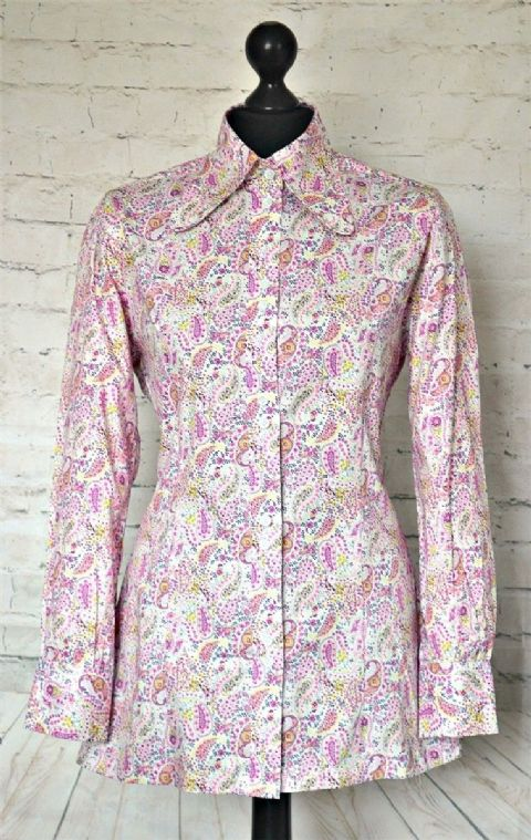 """JEAN"" WOMEN'S FITTED BEAGLE COLLAR PINK FLORAL PAISLEY SHIRT  - JEAN#23"